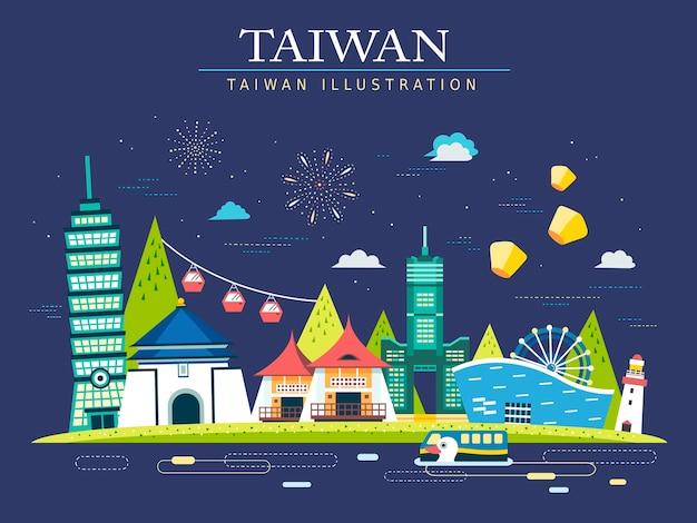 Bandiera di concetto di viaggio attraente taiwan con punti di riferimento