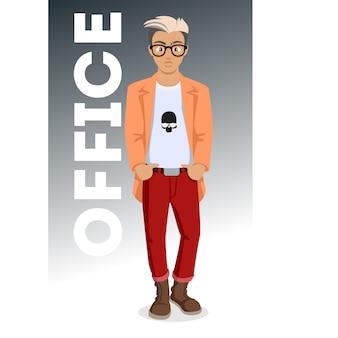 Giovani attraenti in vestiti alla moda. giovane hipster. uomo simpatico cartone animato. giovani di successo. illustrazione su sfondo bianco.