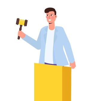 Asta con uomo con martelletto. illustrazione vettoriale.