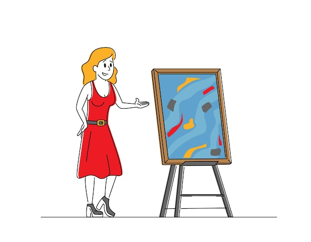 Personaggio femminile banditore offre un'immagine capolavoro per le offerte d'asta