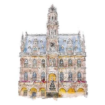 Illustrazione disegnata a mano di schizzo dell'acquerello di audenarde belgio