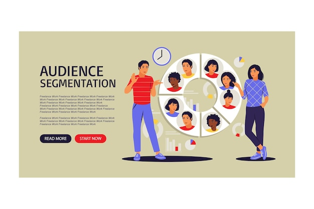 Concetto di segmentazione del pubblico. pagina di destinazione per il web. persone vicino a un grande grafico circolare con immagini di persone. illustrazione vettoriale. appartamento.