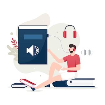 Concetto di illustrazione dell'audiolibro