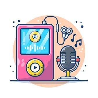 Lettore musicale audio e microfono isolati su bianco