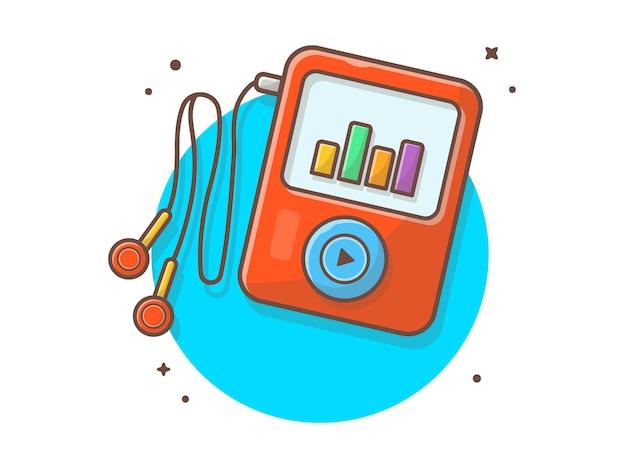 Audio music player con auricolare, note musicali. lettore multimediale portatile bianco isolato