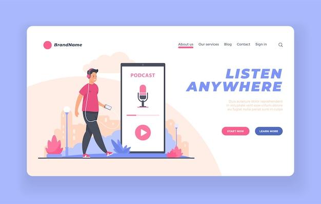 Pagina di destinazione pubblicitaria dell'app di trasmissione di podcast audio o modello di poster
