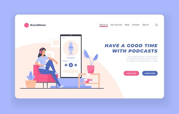 Concetto di audiolibro di formazione webinar per ascoltatori di podcast audio