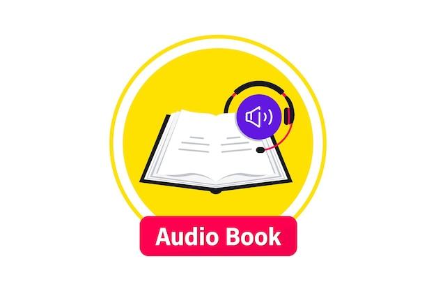 Logo di audiolibri. ascolta la letteratura, e-book in formato audio. icona piana dell'applicazione mobile online di libri. audiolibro online con cuffie, formazione a distanza e-learning. podcast, webinar, tutorial