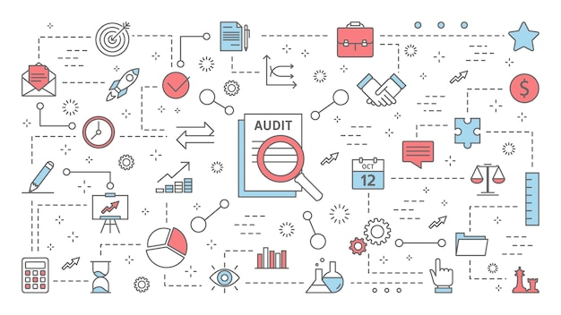 Concetto di audit. analisi e analisi della finanza aziendale. lavorare con il documento. processo di valutazione. set di icone di linea. appartamento isolato