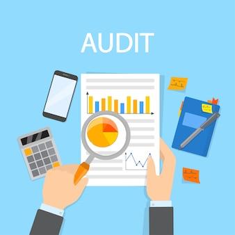 Concetto di audit. analisi ed esame di documenti aziendali o finanziari con lente d'ingrandimento. illustrazione vettoriale piatto isolato