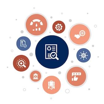 Audit infografica 10 passaggi bubble design.revisionare, standard, esaminare, elaborare icone semplici