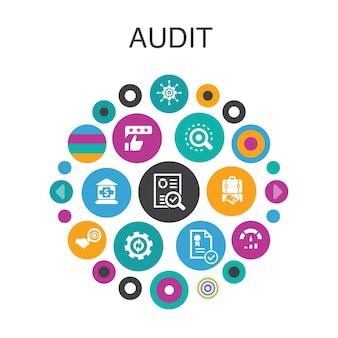 Audit infografica concetto di cerchio. elementi dell'interfaccia utente intelligenti. rivedere, standardizzare, esaminare, elaborare