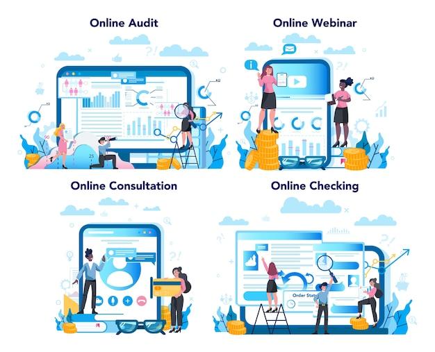 Servizio o piattaforma online di audit su un set di concetti di dispositivi diversi. ricerca e analisi di operazioni aziendali online. consultazione online o webinar.