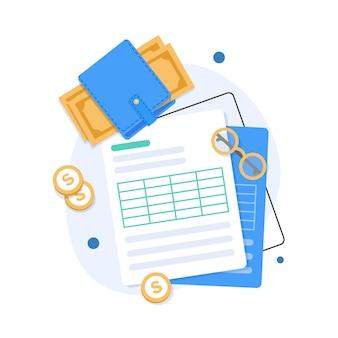Concetto di audit e analisi aziendale, processo fiscale di revisione, illustrazione design piatto