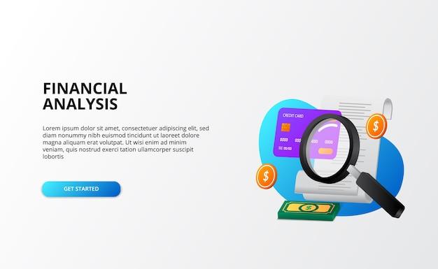 Controllo del concetto di analisi delle finanze. concetto di economia aziendale. lente d'ingrandimento, bils, carta di credito, denaro 3d divertente modello di pagina di destinazione gradiente moderno