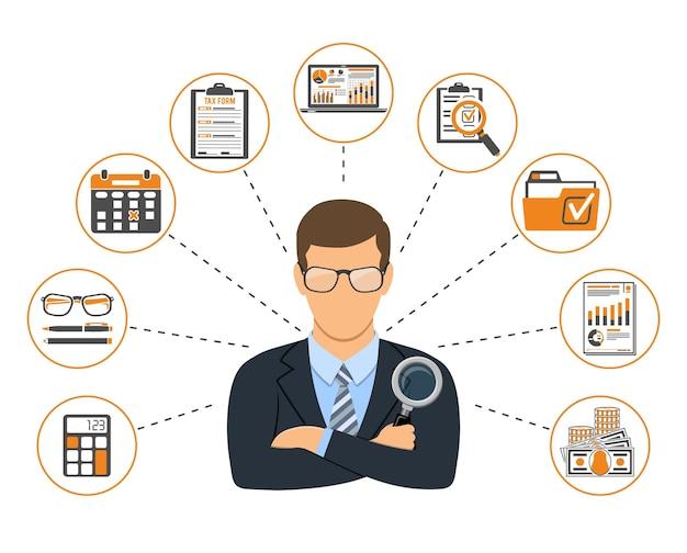 Auditing, fiscale, contabilità banner. revisore dei conti tiene in mano la lente di ingrandimento e controlla la relazione finanziaria con grafici, calcolatrice e laptop. icone di stile piatto. illustrazione vettoriale isolato