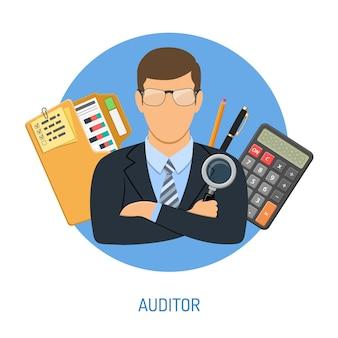 Auditing, fiscale, concetto di contabilità. revisore dei conti tiene in mano la lente di ingrandimento e controlla la relazione finanziaria con grafici, calcolatrice e cartella. icone di stile piatto. illustrazione vettoriale isolato