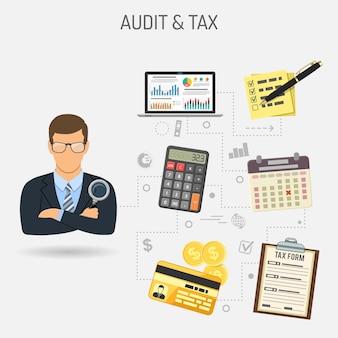 Auditing, fiscale, concetto di contabilità. il revisore dei conti tiene in mano la lente di ingrandimento e controlla la relazione finanziaria con i grafici sul laptop dello schermo icone di stile piatto. illustrazione vettoriale isolato