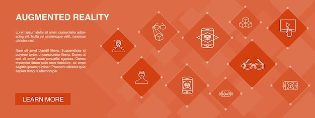 Realtà aumentata banner 10 icone concept.riconoscimento facciale, app ar, gioco ar, icone semplici di realtà virtuale