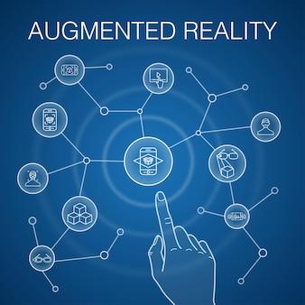Concetto di realtà aumentata, sfondo blu. riconoscimento facciale, app ar, gioco ar, icone di realtà virtuale