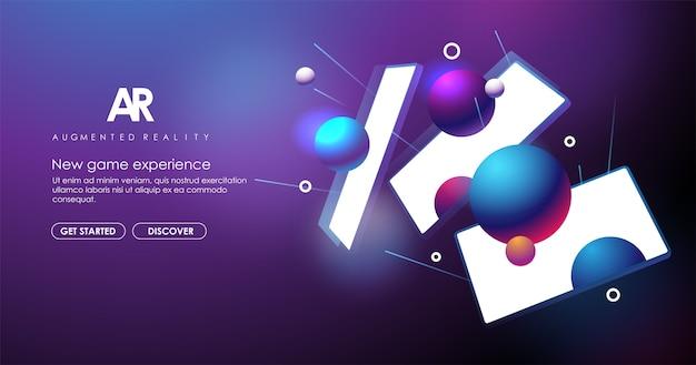 Banner creativo di realtà aumentata. concetto di tecnologia ar per web e app. concetto con sfondo astratto. Vettore Premium