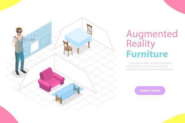 Vettore isometrico piano mobili in realtà aumentata