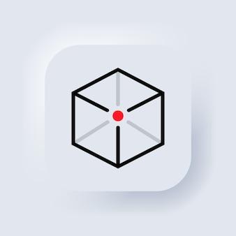 Icona di realtà aumentata. simbolo di concetto ar. pulsante web dell'interfaccia utente bianco neumorphic ui ux. neumorfismo. vettore.