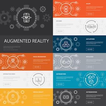 Realtà aumentata infografica 10 icone di linea banner. riconoscimento facciale, app ar, gioco ar, icone semplici di realtà virtuale