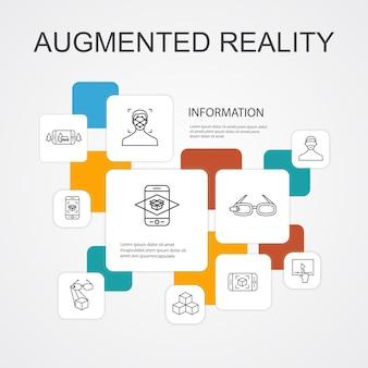 Realtà aumentata infografica 10 icone di linea modello. riconoscimento facciale, app ar, gioco ar, icone semplici di realtà virtuale