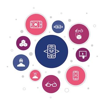 Realtà aumentata infografica 10 passaggi di design a bolle. riconoscimento facciale, app ar, gioco ar, icone semplici di realtà virtuale