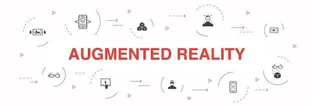 Realtà aumentata infografica 10 passaggi di progettazione del cerchio. riconoscimento facciale, app ar, gioco ar, icone semplici di realtà virtuale
