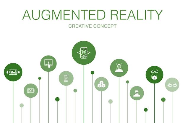 Modello di infografica in 10 passaggi di realtà aumentata. riconoscimento facciale, app ar, gioco ar, icone semplici di realtà virtuale