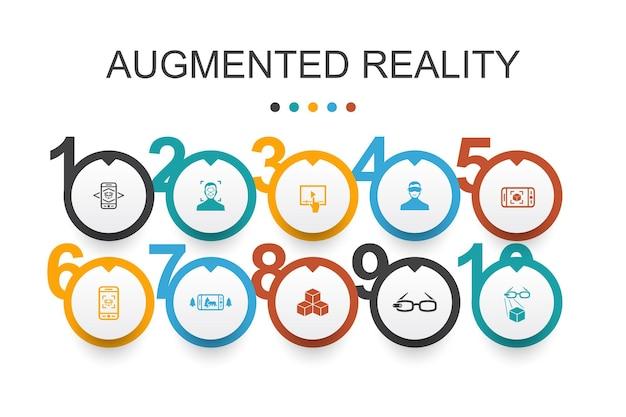 Realtà aumentata modello di progettazione infografica. riconoscimento facciale, app ar, gioco ar, icone semplici di realtà virtuale