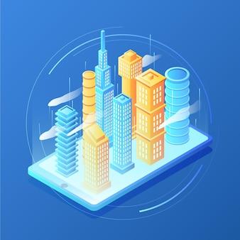 Città isometrica di realtà aumentata