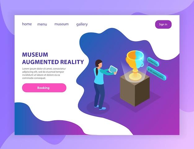 Pagina di destinazione isometrica delle informazioni della galleria del museo in realtà aumentata con il visitatore che visualizza la brocca antiek utilizzando il tablet
