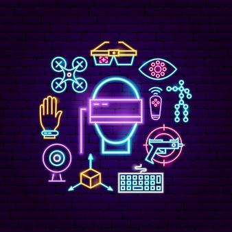Concetto al neon di realtà aumentata. illustrazione vettoriale di promozione vr.