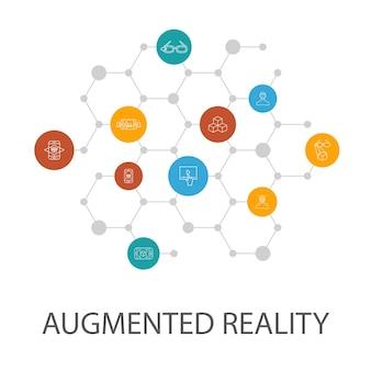 Modello di presentazione della realtà aumentata, layout di copertina e infografica. riconoscimento facciale, app ar, gioco ar, icone di realtà virtuale