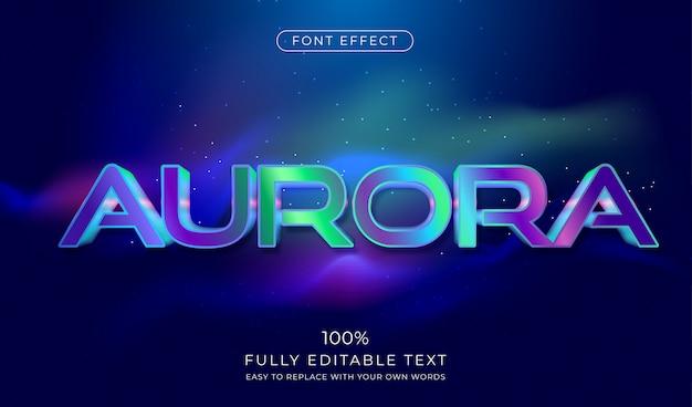 Effetto di testo aurora. stile del carattere futuristico