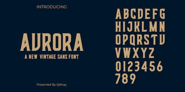 Aurora vintage font Vettore Premium