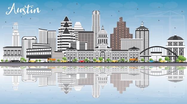 Skyline di austin con edifici grigi, cielo blu e riflessi. illustrazione di vettore. viaggi d'affari e concetto di turismo con architettura moderna. immagine per presentazione banner cartellone e sito web.