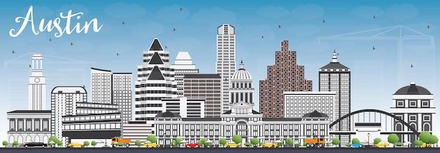 Skyline di austin con edifici grigi e cielo blu. illustrazione di vettore. viaggi d'affari e concetto di turismo con architettura moderna. immagine per presentazione banner cartellone e sito web.