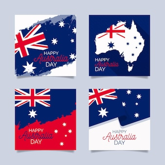 Set di cartoline d'auguri di evento di australia day