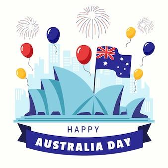 Illustrazione di giorno dell'australia con palloncini colorati