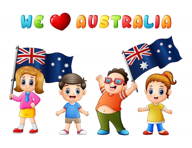 I bambini dei bambini dell'australia day national flag amano il paese