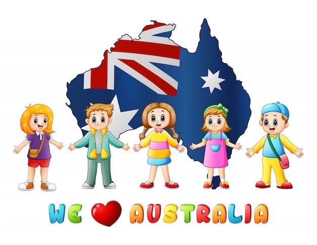 I bambini della mappa nazionale dell'australia day amano il paese