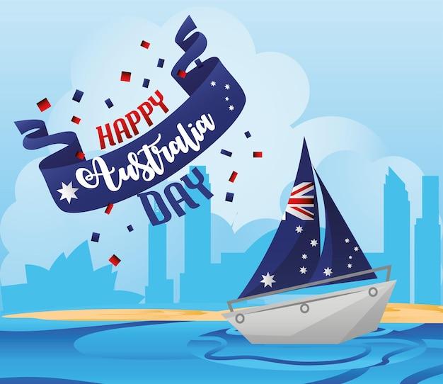 Giorno dell'australia, veliero con bandiera nazionale, arrivo a illustrazione vettoriale di sydney