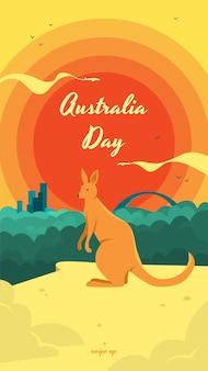 Modello di storia sui social media per l'australia day con un canguro come simbolo del paese e bellissimo paesaggio urbano.
