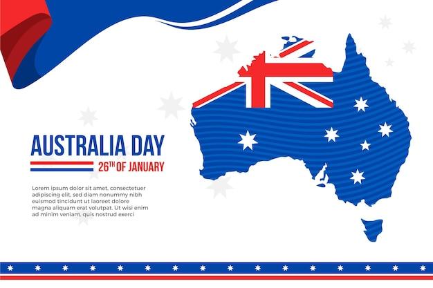 Giornata dell'australia con mappa australiana design piatto Vettore Premium