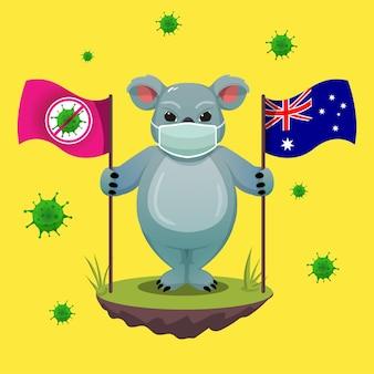Australia day con la mascotte koala di fronte alla pandemia covid-19 e al virus corona