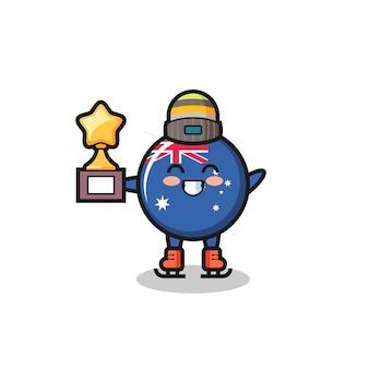 Il fumetto del distintivo della bandiera dell'australia come un giocatore di pattinaggio sul ghiaccio tiene il trofeo del vincitore, un design carino in stile per t-shirt, adesivo, elemento logo